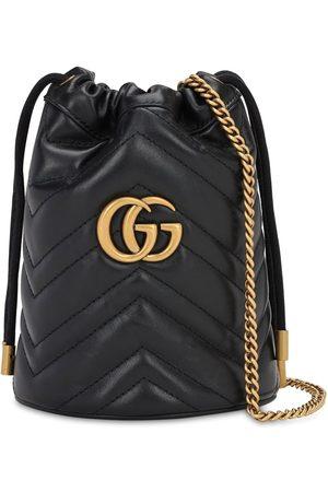 """Gucci Borsa A Secchiello Mini """"gg Marmont 2.0"""" In Pelle"""