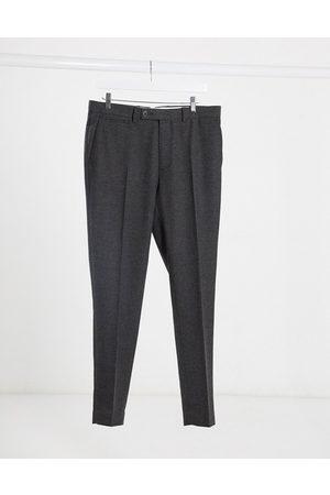 ASOS Wedding - Pantaloni da abito super skinny in misto lana a spina di pesce antracite
