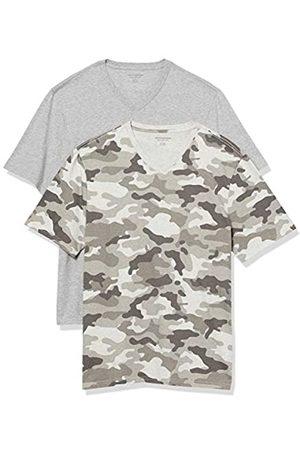 Amazon 2-Pack Loose-Fit V-Neck T-Shirt Fashion-t-Shirts, Grey Camo/Grey Heather, US S