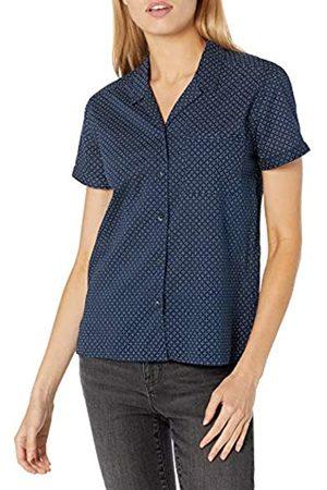 Goodthreads Cotton Dobby Camp Shirt Shirts, Navy/White Mini-DOT Print, US L