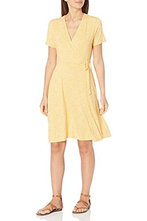 Amazon Cap-Sleeve Faux-Wrap Dress Dresses, Yellow Mini Tulip, US S
