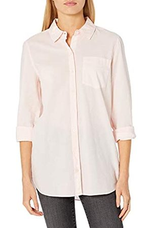 Goodthreads Cotton Dobby Long-Sleeve Button-Front Tunic Shirt Shirts, Crystal Pink, US XL