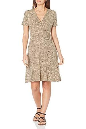 Amazon Cap-Sleeve Faux-Wrap Dress Dresses, Mini Leopard, US S