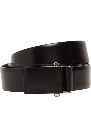 Prada Cintura In Pelle Con Logo 3.2cm