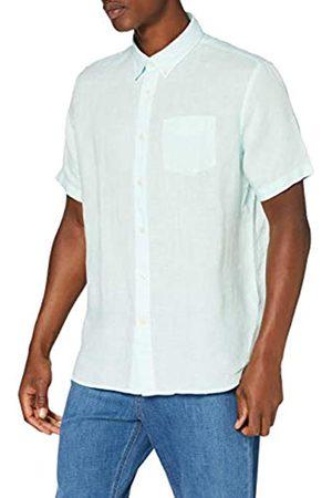 FIND Marchio Amazon - Camicia di Lino a Manica Corta Uomo, Green , XS, Label: XS