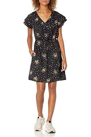 Goodthreads Georgette Ruffle-Sleeve Mini Dress Dresses, Black Confetti Floral, US M