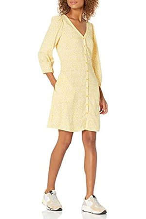 Goodthreads Georgette 3/4-Sleeve Button-Front Dress Dresses, Yellow Scattered Floral Print, US M