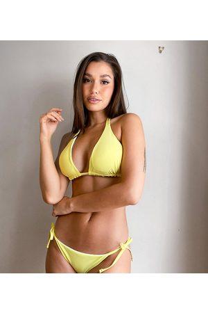 Ivory Rose Taglia Comoda - Slip bikini mix & match double-face con fascette color limone e a pois