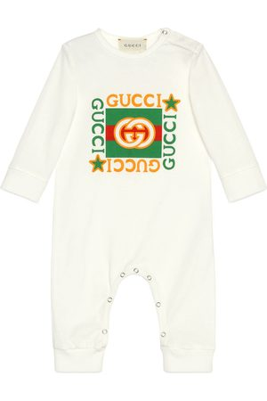 Gucci Tutina in cotone con stampa logo vintage