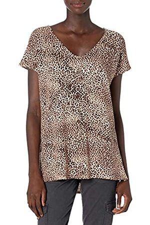 Daily Ritual Marchio Amazon - Supersoft Terry Dolman-Sleeve V-Neck Tunic Shirts, Stampa Leopardata, US