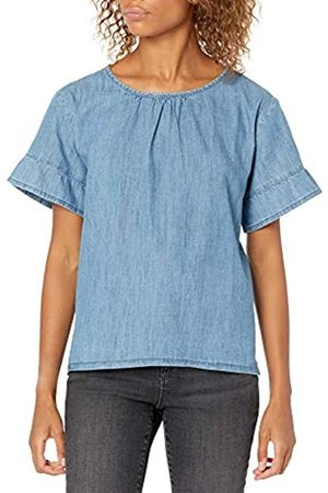 Goodthreads Denim Flutter-Sleeve Woven Tee Athletic-Shirts, Lavaggio Medio, US