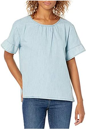 Goodthreads Denim Flutter-Sleeve Woven Tee Athletic-Shirts, Light Wash, US