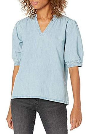 Goodthreads Denim Smock Shirt Athletic-Shirts, Light Wash, US M