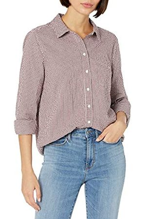 Goodthreads Seersucker Long-Sleeve Button-Front Tunic Shirt Shirts, Burgundy And White Gingham, S