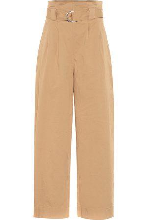 Ganni Pantaloni paperbag a gamba larga in cotone