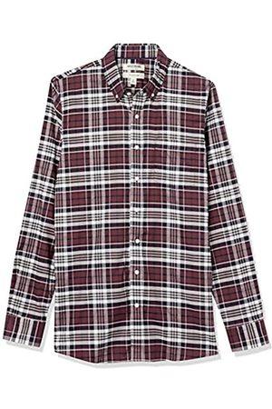 Goodthreads Slim-Fit Long-Sleeve Stretch Oxford Shirt Camicia, Uomo, Light Burgundy Multi Plaid, L Tall