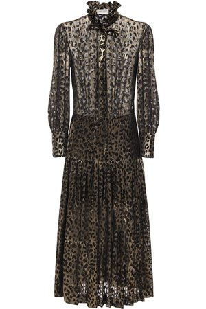 Saint Laurent Abito In Georgette Devoré Leopard