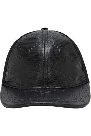 Gucci Cappello In Pelle Stampata E Mesh