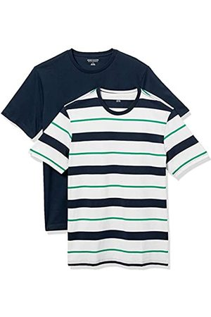 Amazon 2-Pack Slim-Fit Crewneck T-Shirt Fashion-t-Shirts, Green, White, And Navy Verrogated Stripe/Navy, US XXL
