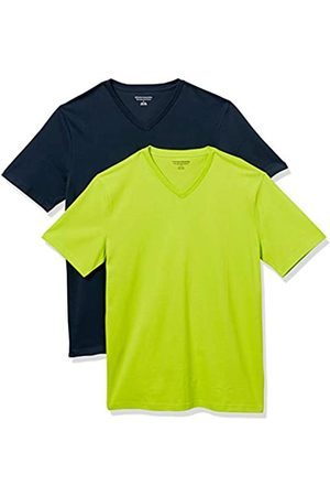 Amazon 2-Pack Slim-Fit V-Neck T-Shirt Fashion-t-Shirts, Lime/Dark Navy, US M