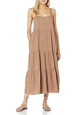 The Drop Britt, Maxi Abito Svasato a Balze Donna, , XS