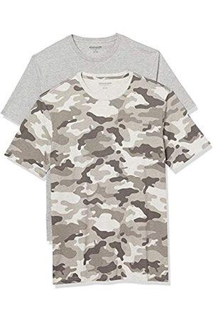 Amazon 2-Pack Slim-Fit Crewneck T-Shirt Fashion-t-Shirts, Grey Camo/Grey Heather, US M