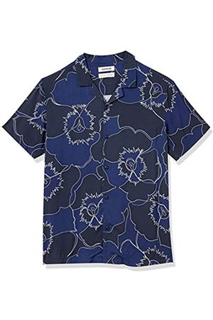 Goodthreads Standard-Fit Short-Sleeve Camp Collar Hawaiian Shirt Athletic-Shirts, Oversized Blue Pansy, US