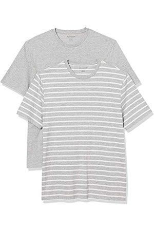 Amazon Set Composto da 2 Magliette a Girocollo a Maniche Corte Fashion-t-Shirts, Heather e Brennan Stripe/ Heather, US