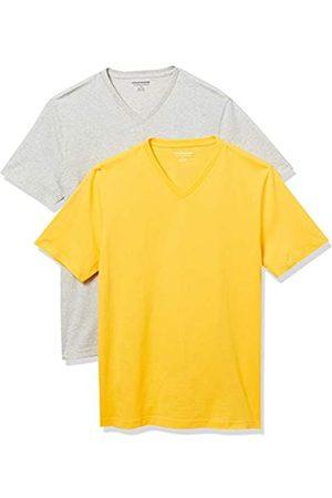 Amazon 2-Pack Slim-Fit V-Neck T-Shirt Fashion-t-Shirts, Yellow/Light Heather Grey, US XXL