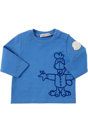 Moncler T-shirt In Jersey Di Cotone Con Floccatura