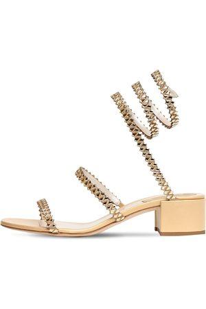 RENÉ CAOVILLA Sandali In Pelle Metallizzata E Raso 40mm