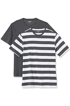 Amazon Uomo Polo - 2-Pack Slim-Fit Crewneck T-Shirt Fashion-t-Shirts, Charcoal Heather And White Rugby Stripe/Charcoal Heather, US S