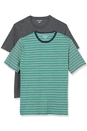 Amazon Uomo Polo - 2-Pack Slim-Fit Crewneck T-Shirt Fashion-t-Shirts, Green, Navy, Grey Heather Stripe/Charcoal, US M