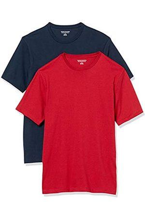 Amazon Uomo Polo - 2-Pack Slim-Fit Crewneck T-Shirt Fashion-t-Shirts, Navy/Red, US S