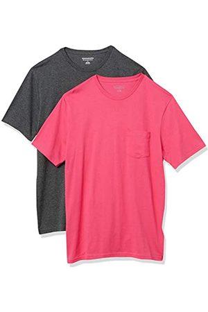 Amazon Confezione da 2 Magliette A Girocollo Aderenti A Maniche Corte Fashion-t-Shirts, Hot Pink/Charcoal Heather Grey, US XXL