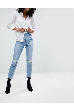 ASOS Donna Boyfriend jeans - Farleigh - Mom jeans slim a vita alta lavaggio vintage con strappi al ginocchio e rammendi