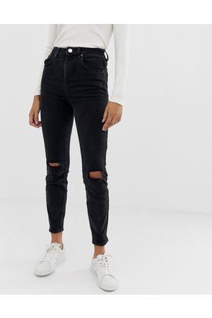 ASOS Farleigh - Mom jeans slim a vita alta slavato con strappi alle ginocchia