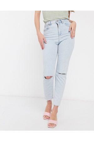ASOS Farleigh - Mom jeans slim a vita alta lavaggio candeggiato con fondo grezzo