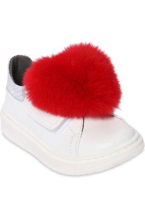 MONNALISA Sneakers In Pelle Con Pelliccia
