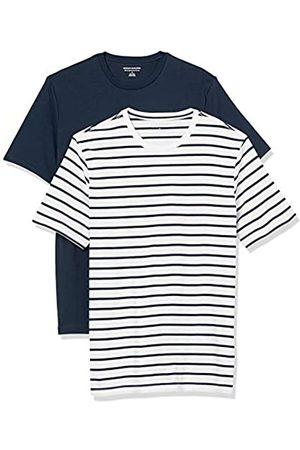 Amazon 2-Pack Slim-Fit Crewneck T-Shirt Fashion-t-Shirts, White And Navy Brennan Stripe/Navy, US