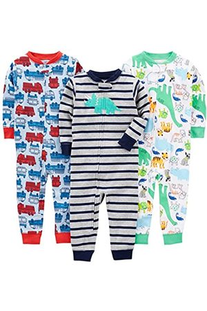 Simple Joys by Carter's Baby and Toddler Pigiama in cotone senza piedi, confezione da 3 ,Fire Truck/Dino/Animals Green/Green ,6-9 Months