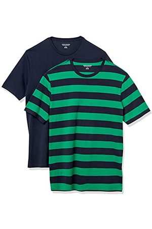 Amazon 2-Pack Slim-Fit Crewneck T-Shirt Fashion-t-Shirts, Green And Navy Rugby Stripe/Navy, US S