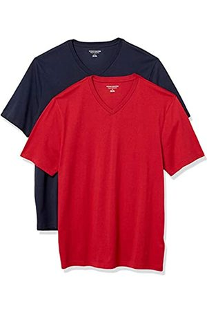 Amazon 2-Pack Loose-Fit V-Neck T-Shirt Fashion-t-Shirts, Navy/Red, US L