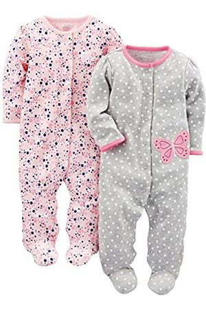 Simple Joys by Carter's Baby Girls, confezione da 2 pezzi, in cotone ,Gray Butterfly/Pink Floral ,Newborn