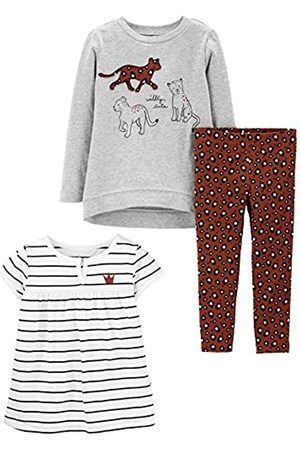 Simple Joys by Carter's Set da Gioco 3 Pezzi. Pants-Clothing-Sets, Ghepardo/Strisce, US 4T