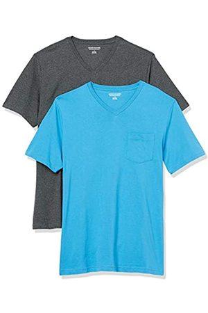 Amazon 2-Pack Slim-Fit V-Neck Pocket T-Shirt Fashion-t-Shirts, Imperial /Carbone Heather, US