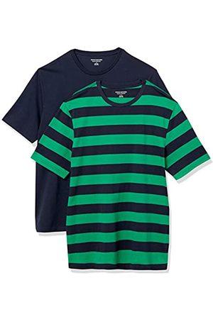 Amazon Set Composto da 2 Magliette a Girocollo a Maniche Corte Fashion-t-Shirts, Righe da Rugby e Navy, US XXL