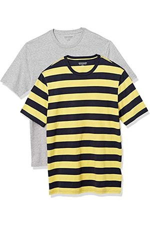 Amazon 2-Pack Slim-Fit Crewneck T-Shirt Fashion-t-Shirts, Yellow And Navy Rugby Stripe/Grey Heather, US L