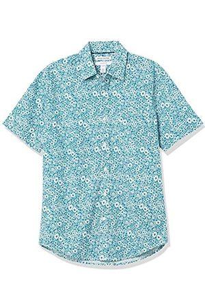 Amazon Short-Sleeve Slim-Fit Casual Poplin Shirt Button-Down-Shirts, Fiori Medi Foglia di tè, US XXL