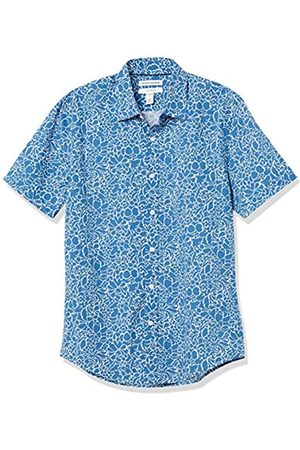 Amazon Short-Sleeve Slim-Fit Casual Poplin Shirt Athletic-Shirts, Grande Motivo Floreale Navy, US XXL